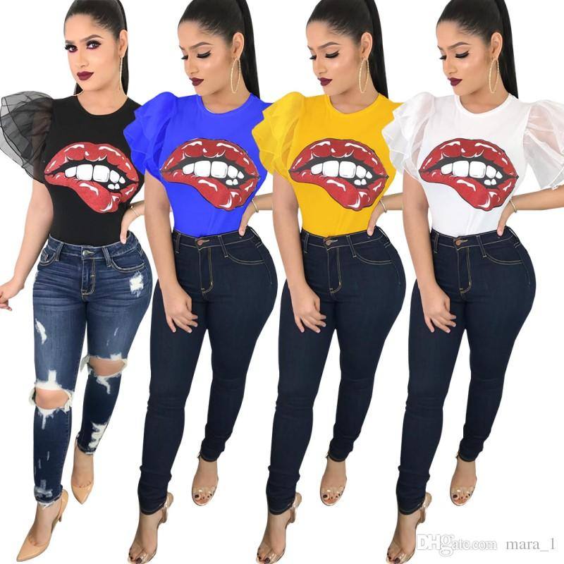 Summer Women Ruffle Sleeve T-shirts Big Red Mouth Print Tops Tees Crew Neck Short Sleeve Trendy Sexy Club Casual T-shirts For Lady Girl