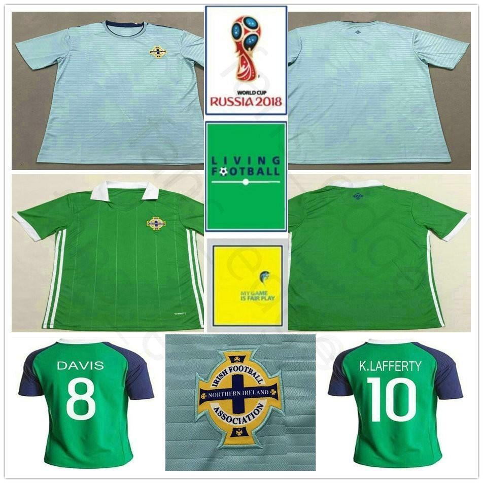 check out e9ca2 b4e7f 2018 World Cup Northern Ireland Soccer Jersey 8 DAVIS 10 K.LAFFERTY 5  J.EVANS 17 McNAIR Custom Road Away Blue Football Shirt
