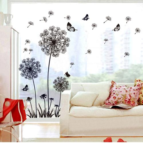 hot! dandelion flower butterfly home decal wall stickers vinyl