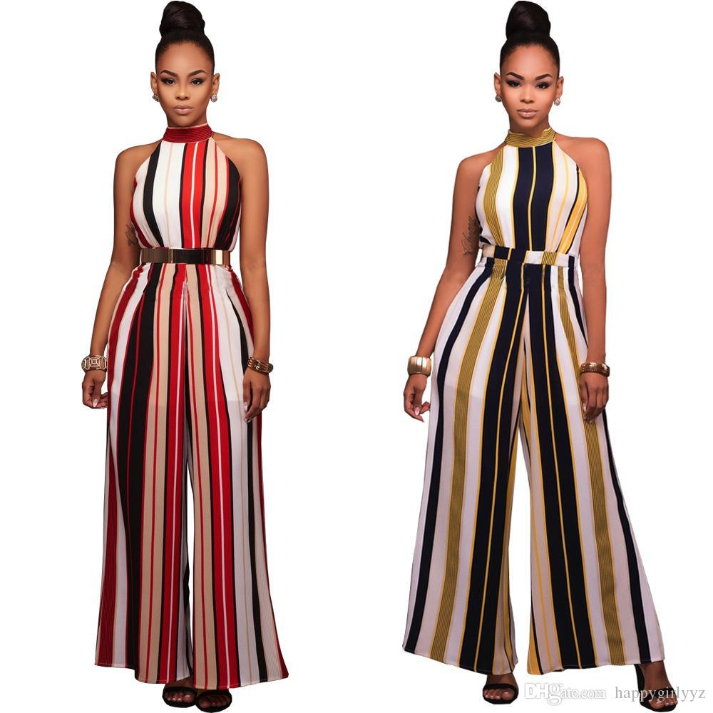 ba60ce07b3fe6 Sexy striped turtleneck sleeveless wide leg jumpsuits women plus size  summer spring autumn new high-necked lacing rompers pants trousers