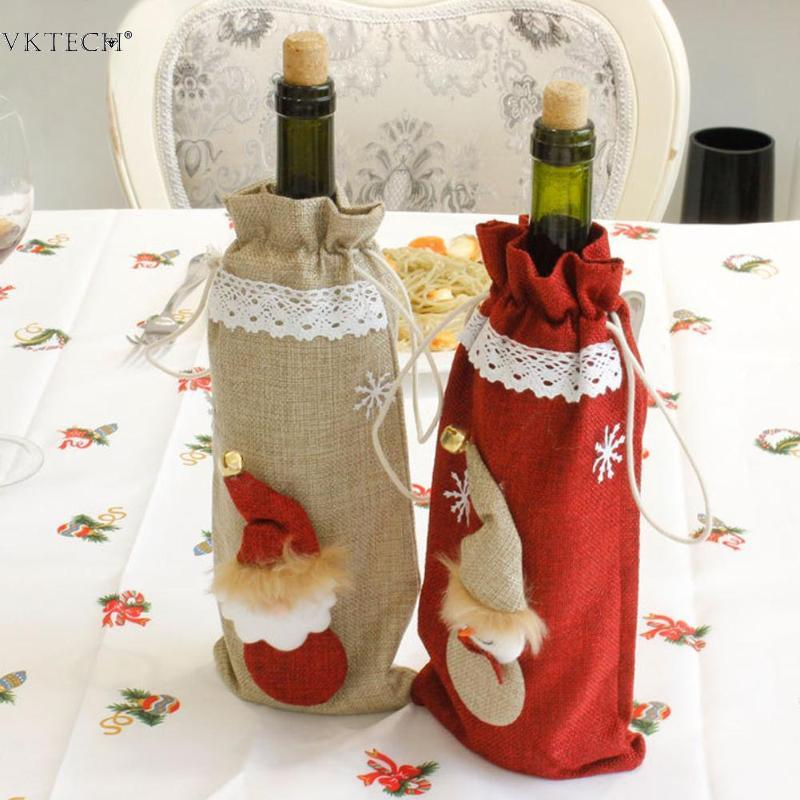 Christmas Wine Bottle Decor Santa Claus Snowman Bottle Cover Clothes