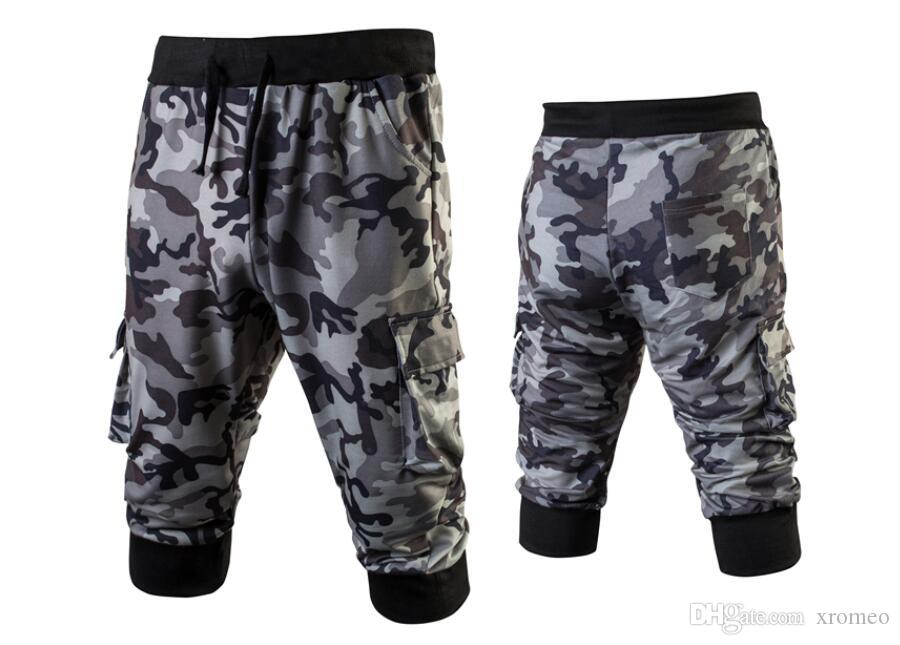 Pantaloni Capris mimetici da uomo Pantaloni slim fit in cotone elasticizzati Pantaloni elasticizzati con tasche posteriori e pantaloni con tasche laterali Harem