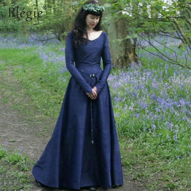 7ac4096ff1c8 Großhandel Plegie Winterkleid Frauen Klassischen Mittelalterlichen  Mitteleuropäischen Stil Party Maxi Kleid Langarm Schlanke Taille Retro Lange  Vestidos Von ...