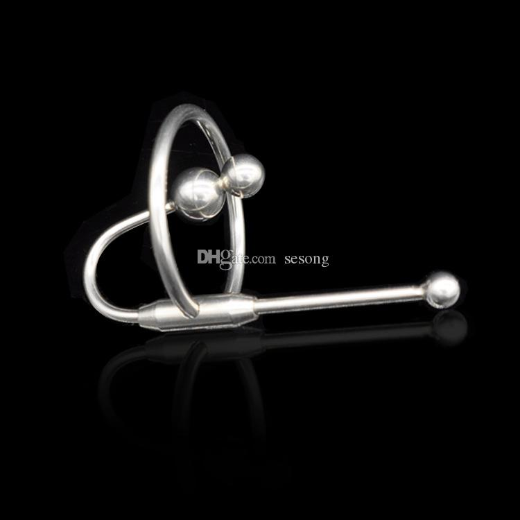 Male Stainless steel Urethral Catheters Sounding Stimulate Plug urethra stretching bead Chastity Device BDSM sex toy