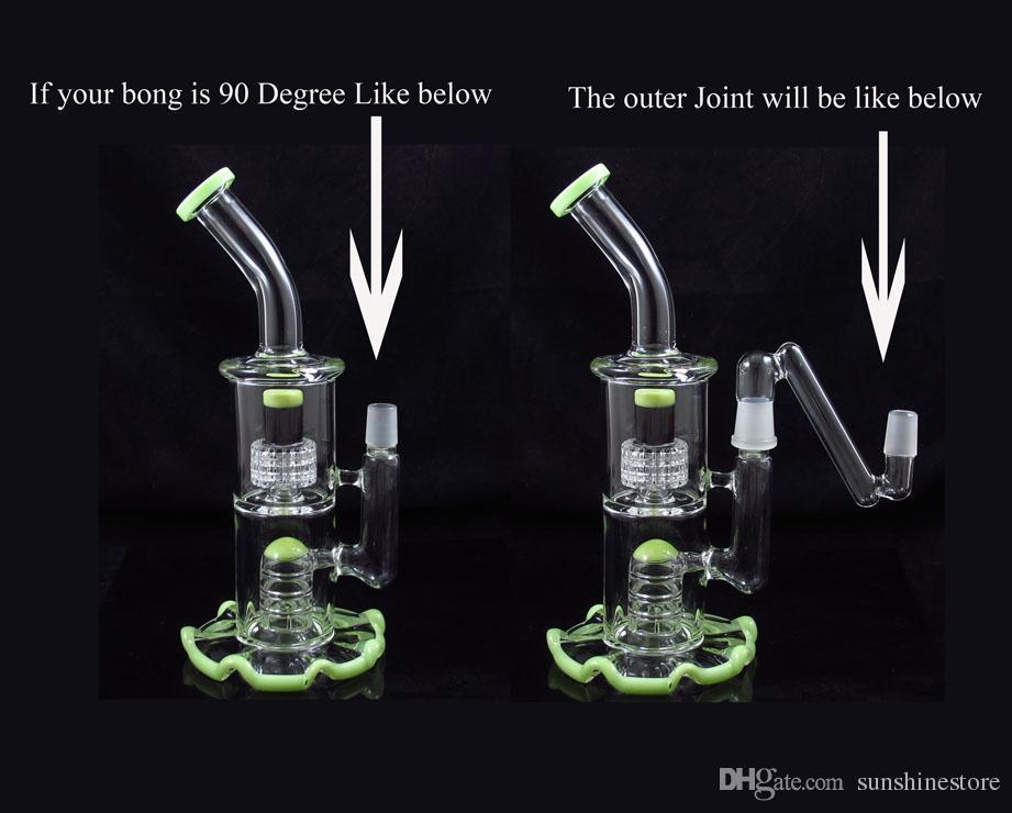Queda de 90 graus Dropdown 14mm 19mm Adaptador adaptador macho feminino para tubo de vidro de água bong