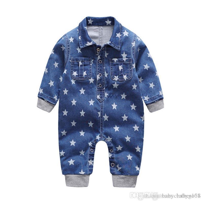 479f5ad95 2018 Soft Denim Baby Romper Stars Infant Clothes Newborn Jumpsuit ...