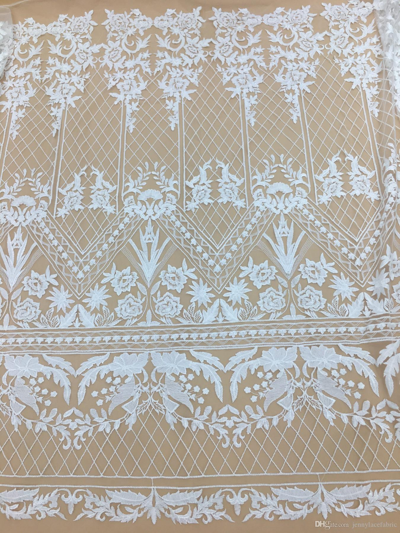 3f38dd06bfe1b Embroidery Mesh Lace Fabric With Floral Dotted