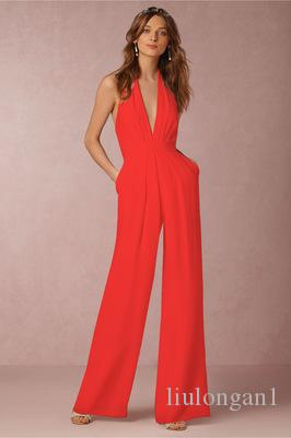 1cbf72843d2 2019 Elegant Women S Stylish Deep V Neck Halter High Waist Wide Leg Pants  Slim Overalls Jumpsuit 2018 Hot Straight Playsuits From Liulongan1