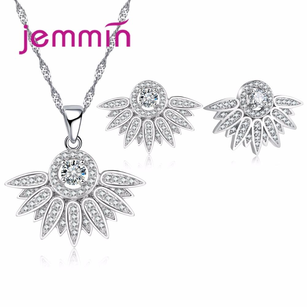 bee4d5b64 Jemmin Cute Charm Necklace And Earrings Set for Women Girls Clear CZ ...