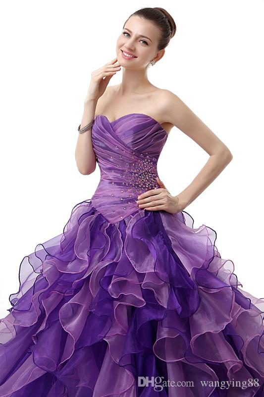 Purple Puffy 2018 Cheap Quinceanera Dresses Ball Gown Sweetheart Organza Beaded Ruffles Sweet 16 Dresses