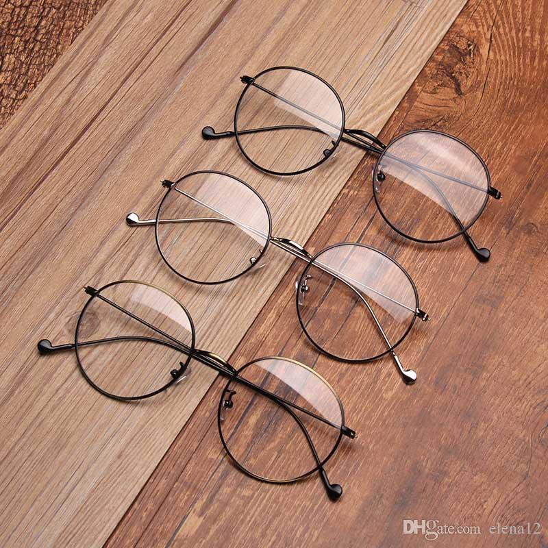 001fbf4690c 2019 Men Women Round Sunglasses Retro Metal Frame Eyeglasses Korean Clear  Lens Glasses Male Female Optical Circle Plain Mirror 330017 From Elena12
