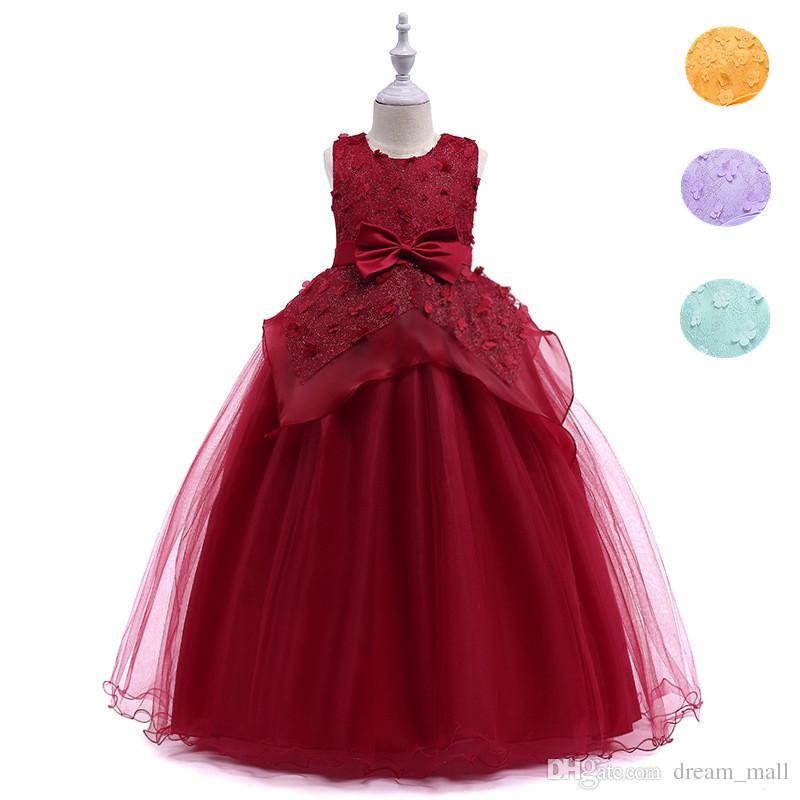 Großhandel Langes Blumen Mädchen Kleid Prinzessin Lace Bow ...