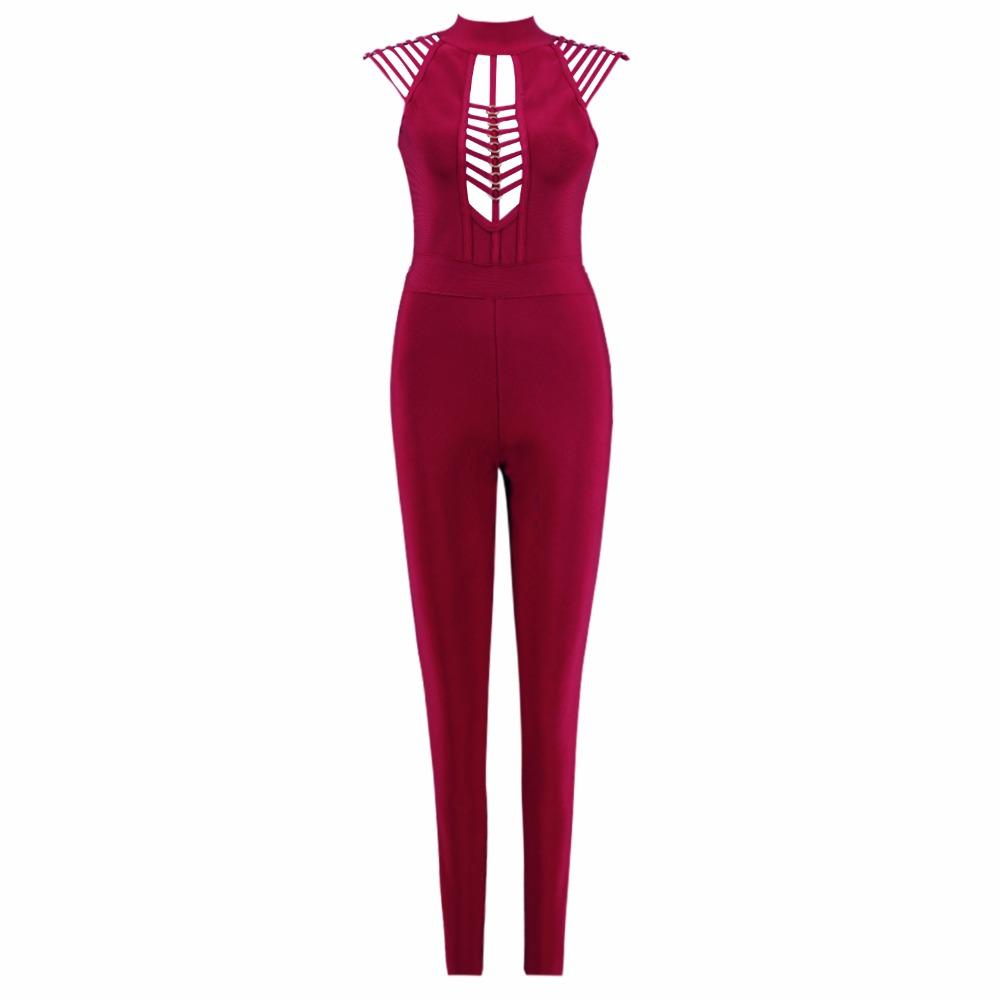 f0c2f32487d8 2019 Sexy Lady Sleeveless Hollow Out Fitness Women Clothing Fashion Sexy  Hot Slim Bodycon Bandage Jumpsuits Solid Red Wine Ladies From Avive