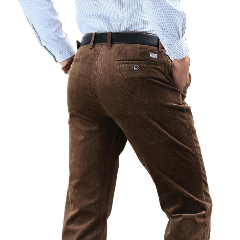 Autumn Winter Thick Corduroy Pants Men Cotton Pants Stretch Corduroy Slacks  High Waist Business Casual Straight Men S Trousers UK 2019 From Ario 684cb772de7c