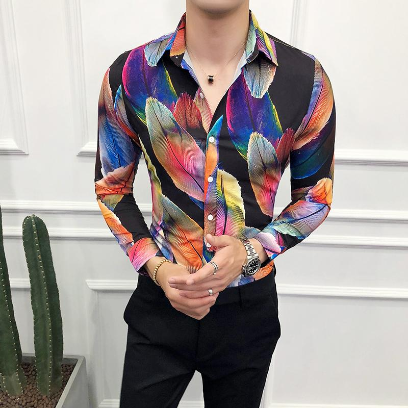 Loldeal Big feather print shirt Men Shirt Brand New Slim Fit Casual Prom Tuxedo Long Sleeve High Quality Shirts