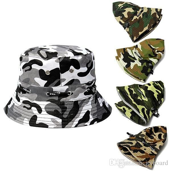 edaeb591f87 2019 Bucket Camo Boonie Hat Outdoor Sun Cap Camping Hiking Unisex Men Women  Wide Brim Visor Hat Fishing Hunting Bucket Cap From Jetboard