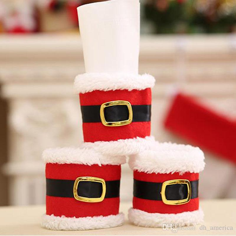 Santa Claus Red Napkin Rings Holder Elf Cloth Tissue Boxes Party Banquet Dinner Table Christmas Decoration Serviette Holder