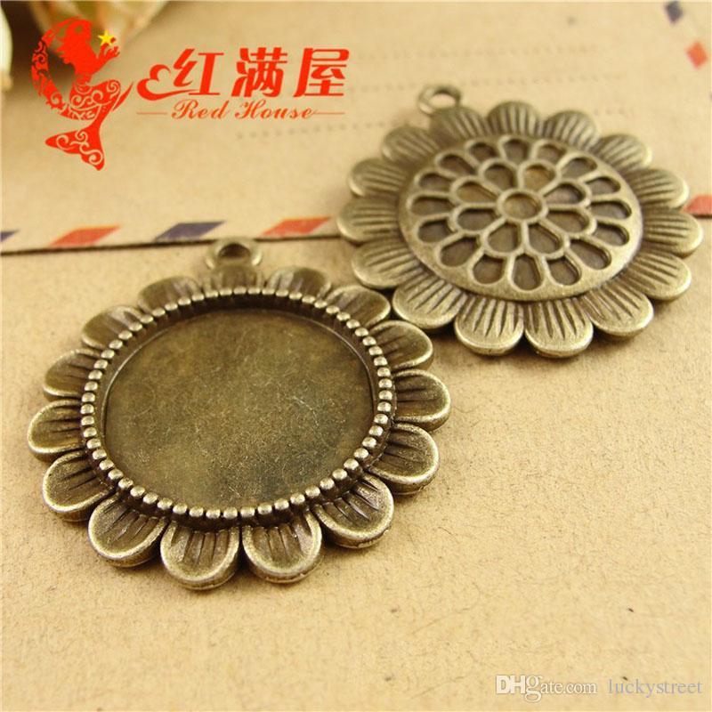 A3849 31 * 34 MM Fit 20 MM Antique Bronze unflower charme DIY acessórios de metal rodada stamping em branco, prata tibetano vintage cameo cabochon base