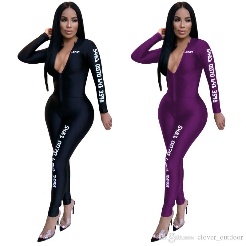 women long sleeve jumpsuit deep-v neck sexy romper elegant fashion skinny jumpsuit pullover zipper comfortable clubwear hot n4
