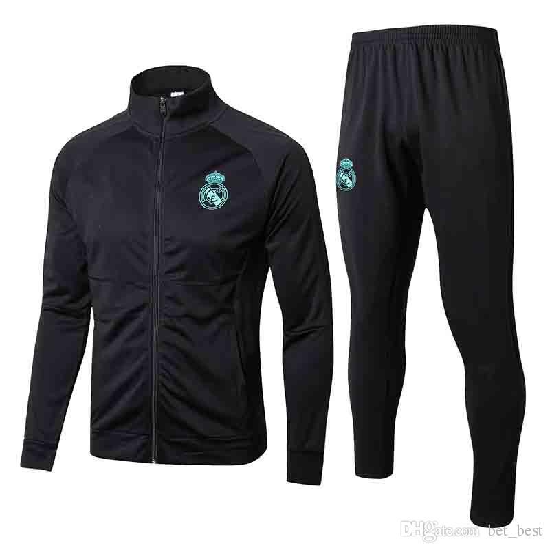 factory authentic af4b9 67089 Tops 2018 Real Madrid Training Tracksuit Jacket Mens 17 18 Real Madrid  Soccer Jacket Suit Set Soccer Tracksuit Black Pants Sportwear