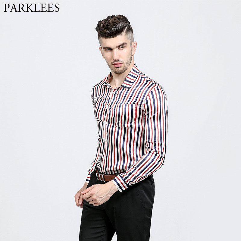 Striped Smooth Silk Shirt Men Slim Long Sleeve Camisa Fashion Masculina 2018 New Nightclub Stage Prom Shirt Male Chemise Homme