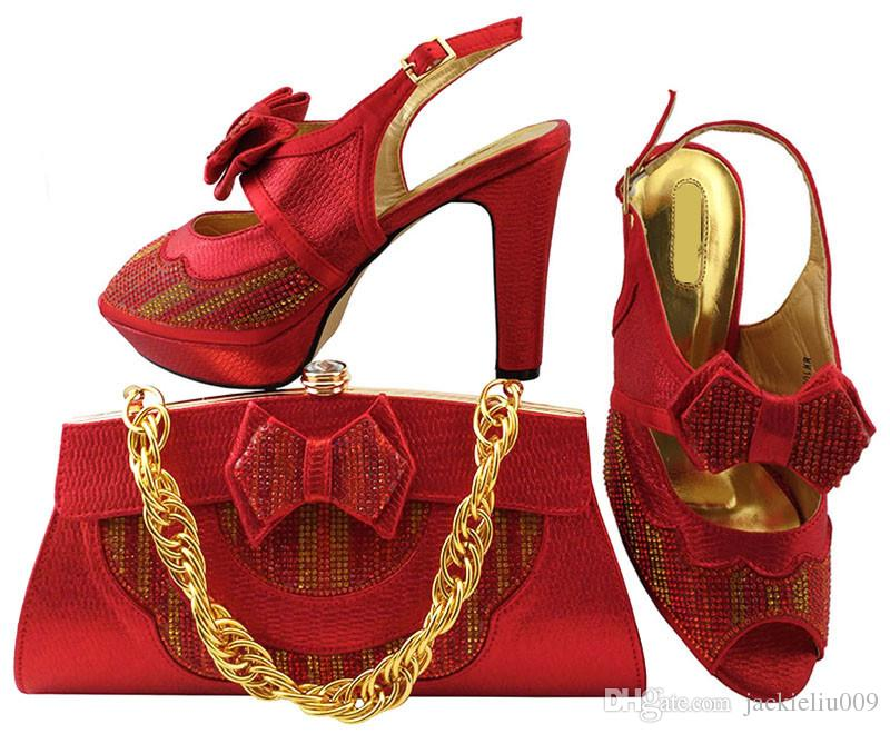 29ea812e89784 Nice looking red shoes matching bags series with bowtie african lady shoes  and handbag set for dress MM1038,heel 11CM