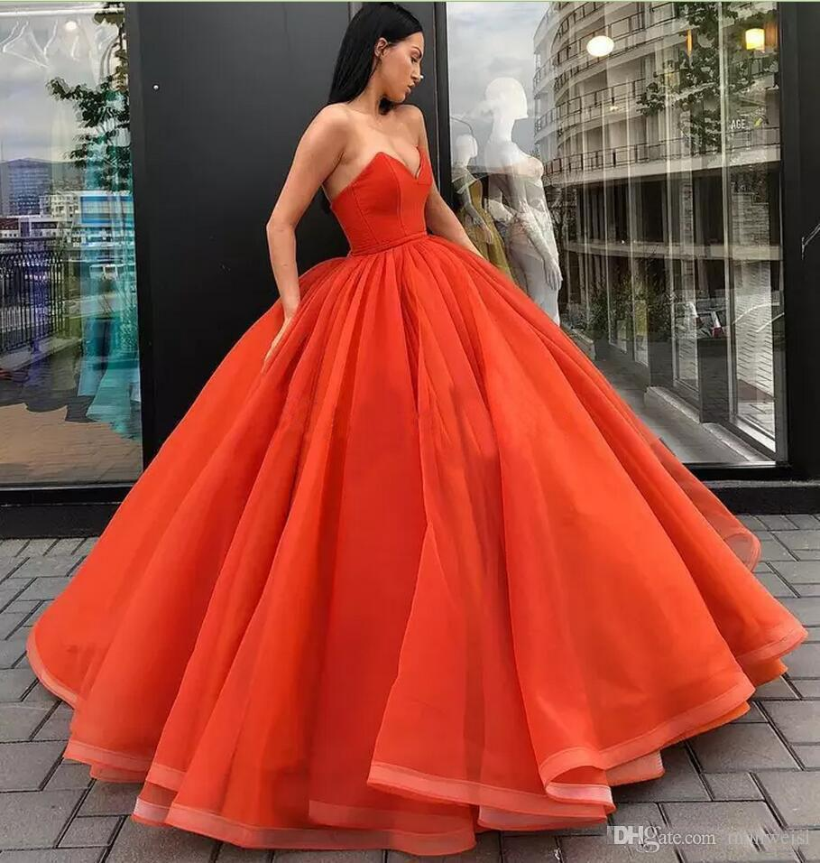 Vintage Orange Cheap Ball Gown Prom Dresses Sweetheart Formal ...