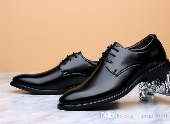 2018 Handmade Designer luxury fashion casual Party Wedding dance male Dress Genuine Leather Mens Derby Shoes size:39-44