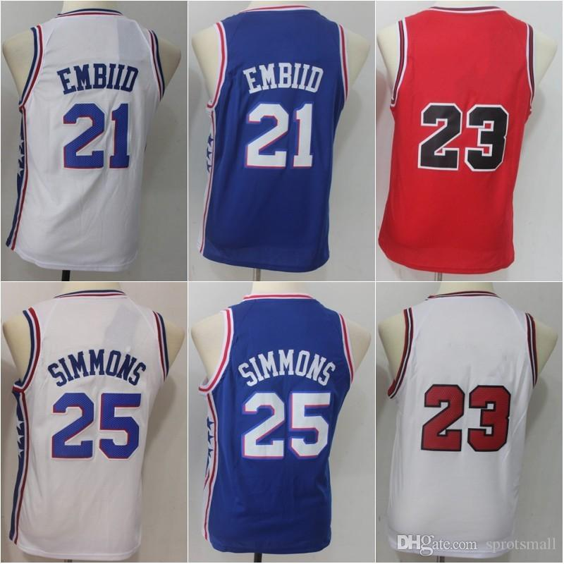 2018 High Quality  21 Joel Embiid  25 Ben Simmons Youth Basketball Shirts  Stitched Kids  23 Michael Boy Basketball Jerseys S XL From Sprotsmall de28a1cd4