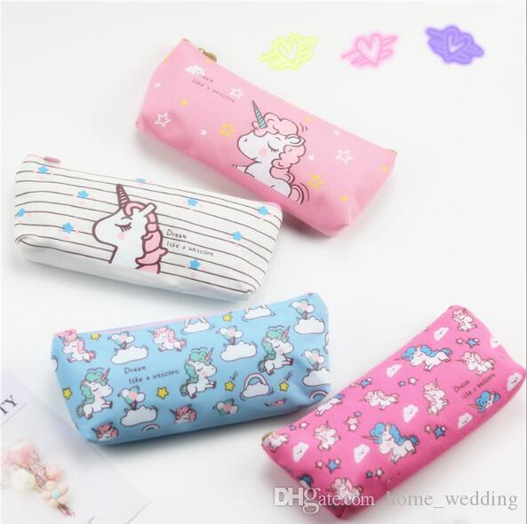 cute pencil case unicorn canvas school office supplies stationery