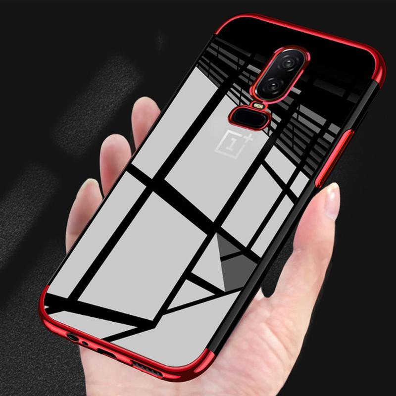 the latest ee731 960b2 For OnePlus 6 Back Case S For One Plus 6 ilicone Soft Full Plating TPU  Cover for 1 Plus 6 Cases