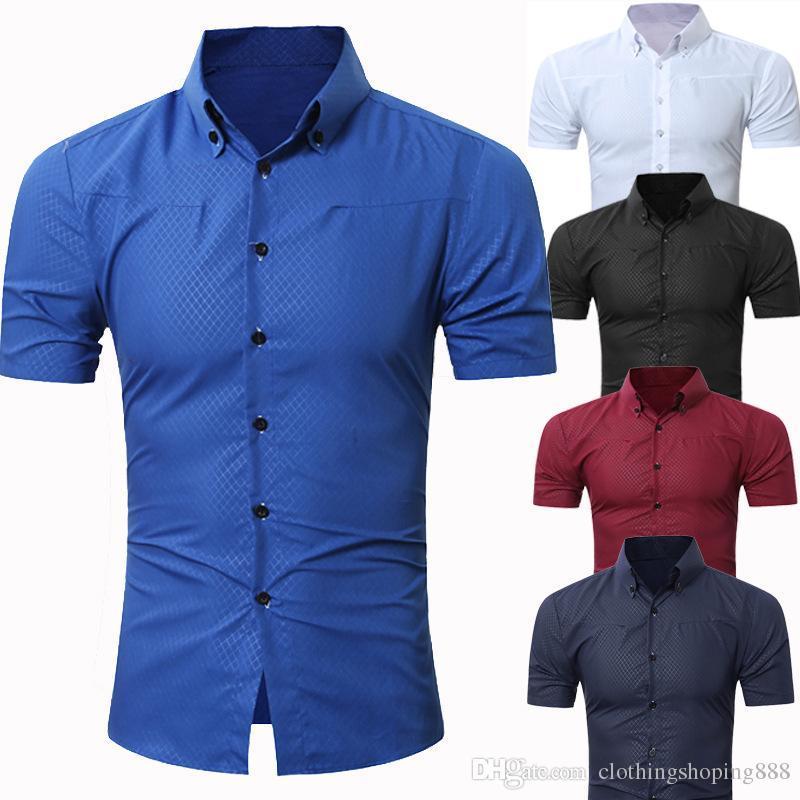 5fd3e41508f 2019 Red And Black Plaid Shirt Men Shirts 2018 New Summer Spring Fashion  Chemise Homme Mens Dress Shirts Short Sleeve Shirt Men Shirt From ...