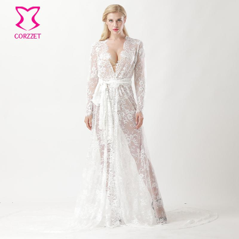 2019 White See Through Floral Lace Long Tail Mermaid