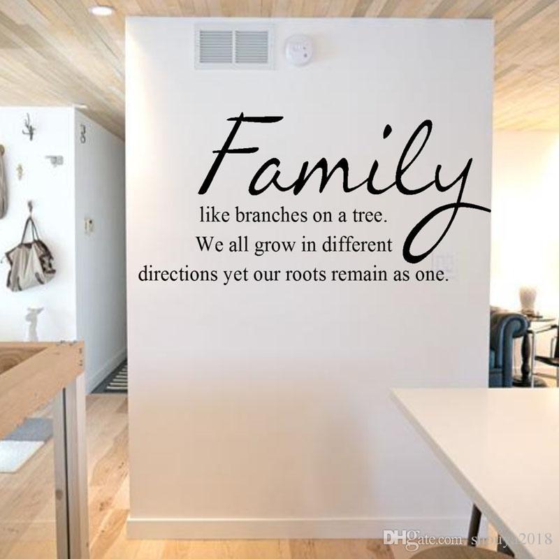 Бесплатная доставка семья, как ветви на дереве стены наклейки характер наклейки на стены Home Decor гостиная самоклеющиеся цитаты обои