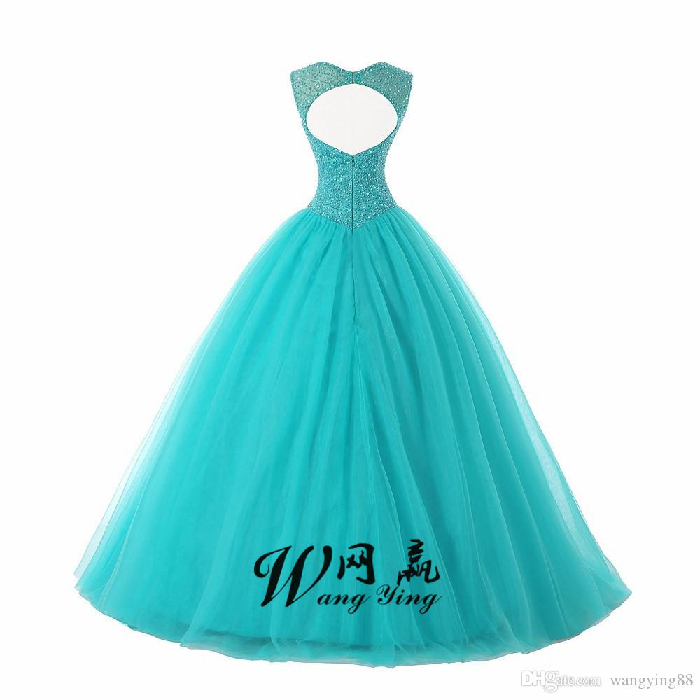 Ruby Bridal Vestidos De Fiesta Blue Charming Beaded Ball Gown Quinceanera Dresses Back Hole Sweet 16 Dresses Party Gown