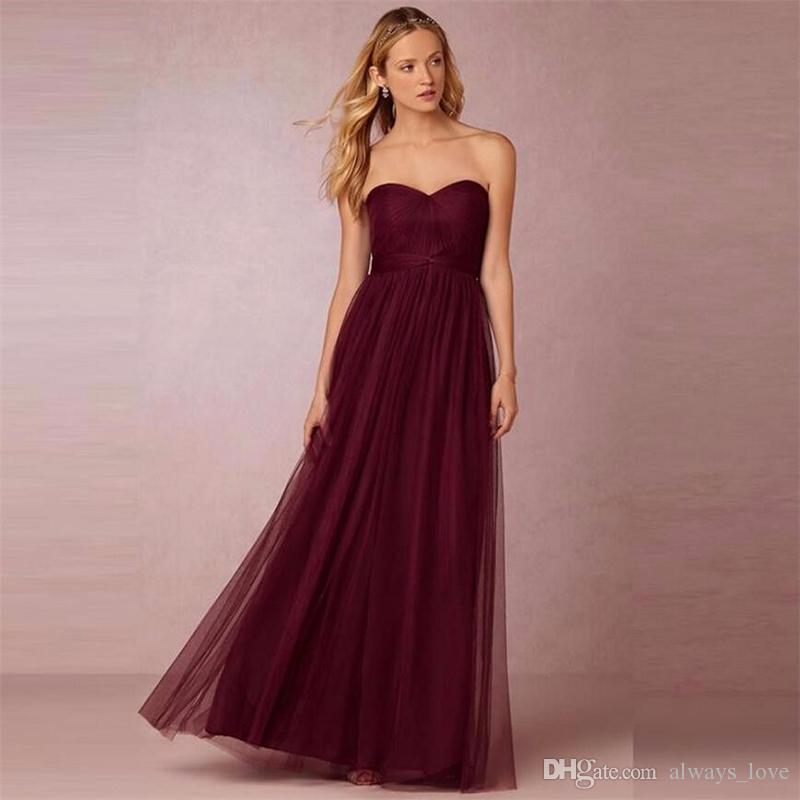 Under 100 Burgunday Bridesmaid Dress Wine Red Formal Maid of Honor Dress For Wedding Party Gown Plus Size vestido de festa de casamento
