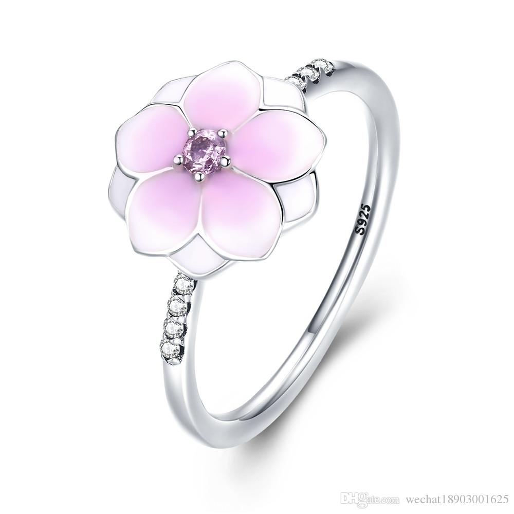 925 Pure Silver Jade Orchid Pandora Ring Pink Cz Ring Women S