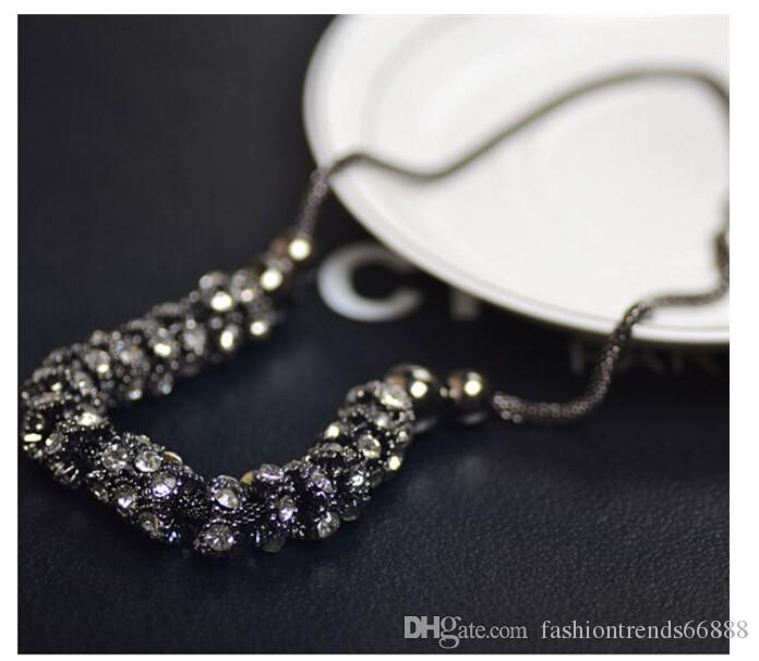 Bohemian Royal Blue Crystal Gemstone Long Sweater Chain Statement Necklace Square Zircon Diamond Necklace Women Pendant Necklace Jewelry