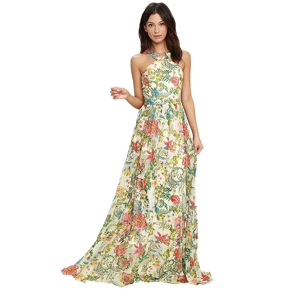 Elegant Women Floral Print Maxi Dress Halter Sleeveless Backless Zip