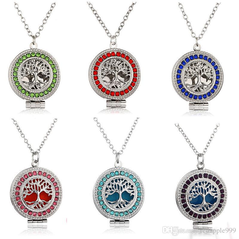 2017 NEW Perfume Aroma Diffuser Locket Necklaces Tree of Life Pendant Magnetic Perfume Locket With Felt Pads cage pendant Jewelry 7 colors