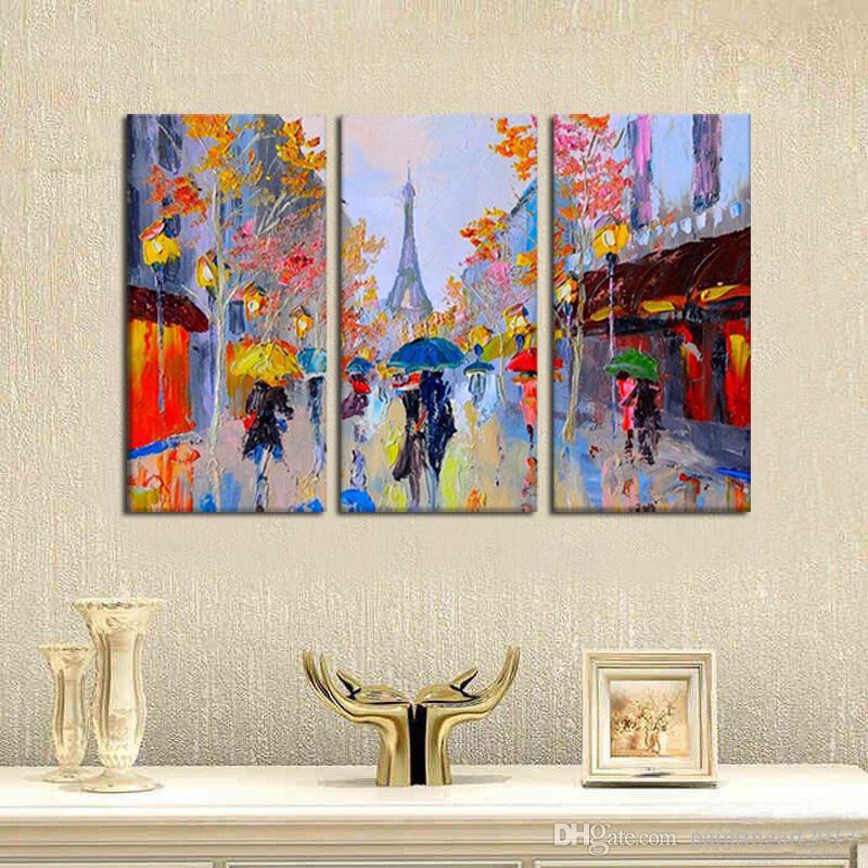 / 낭만주의 파리 손은 캔버스 벽 예술에 현대 추상 유화를 그린 거실 장식
