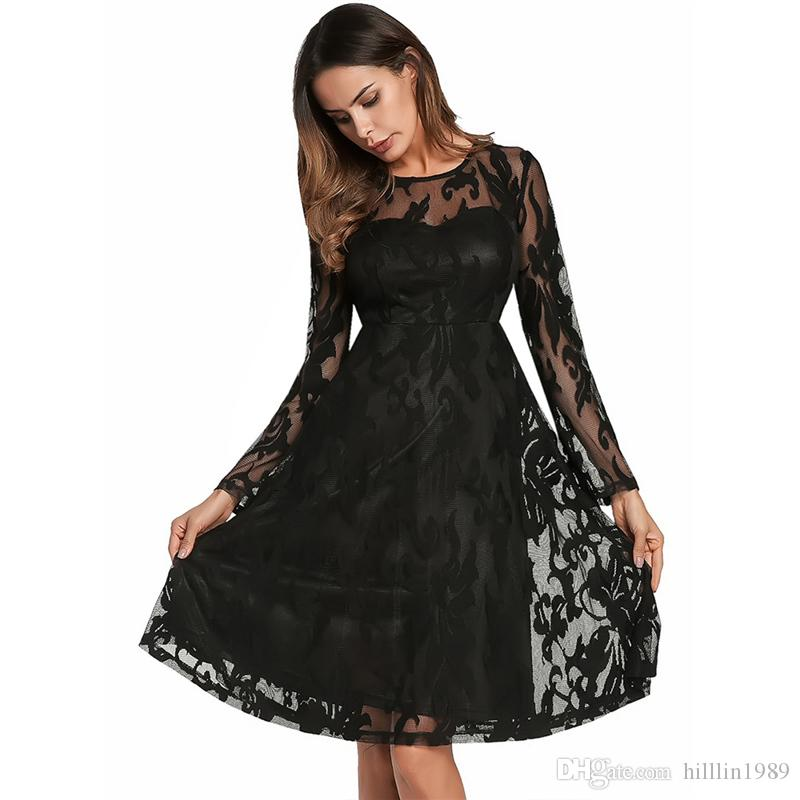 2019 Women S 2018 Autumn Party Dresses New Long Sleeve Double Layer Lace  Dress European American Brand Skirt From Hilllin1989 8bf221bc7