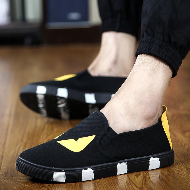 2016 Корейский Лето Новый Прилив Маленький Монстр Холст Обувь Мужчины Повседневная Обувь Эспадрильи Мокасины Дышащий Zapatos Hombre Размер 7-9.5