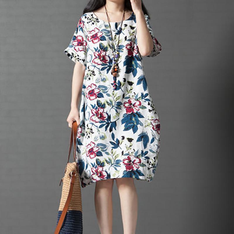 5fb1a819bff3a 2018 Summer Dress Cotton and Linen Floral Print Casual Loose Midi Dress  Women Short Sleeve Femme Bud Dresses Plus Size 4XL 5XL