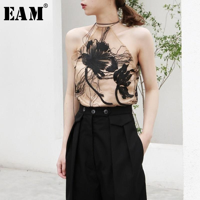 [EAM] 2018 New Summer Fashion Tide Embroidery Floral Roping Camisole Bare Shoulder Perspective Short Woman Vest S896