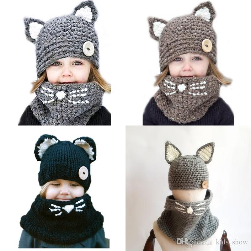 dbf421ab9f1af Compre Lindos Sombreros De Oreja De Gato Hechos A Mano Gorra De Gato De  Animal Doméstico Para Niña De Invierno Sombrero De Gorrita Tejida De Gatos  De ...