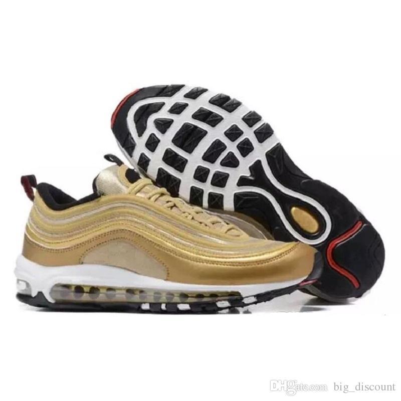 Купить Оптом Nike Air Max 97 Airmax 97 2018 Max97 97 Og Undftd Непобедимый  Тройной Белый Беговые Туфли Air97 OG Металлическое Золото Серебряный Пуля  Мужской ... ec4bb760b2b