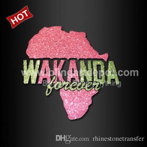 Bling Wakanda With African Map Glitter Vinyl Heat Transfer African