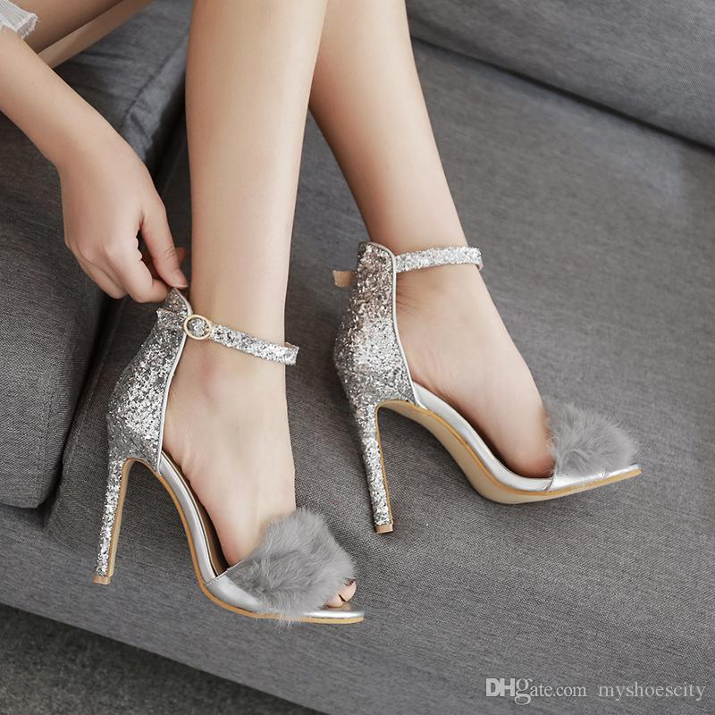 Sexy Fur Silver Sequined Ankle Strappy High Heels Bridal Wedding Shoes Size 35 to 40