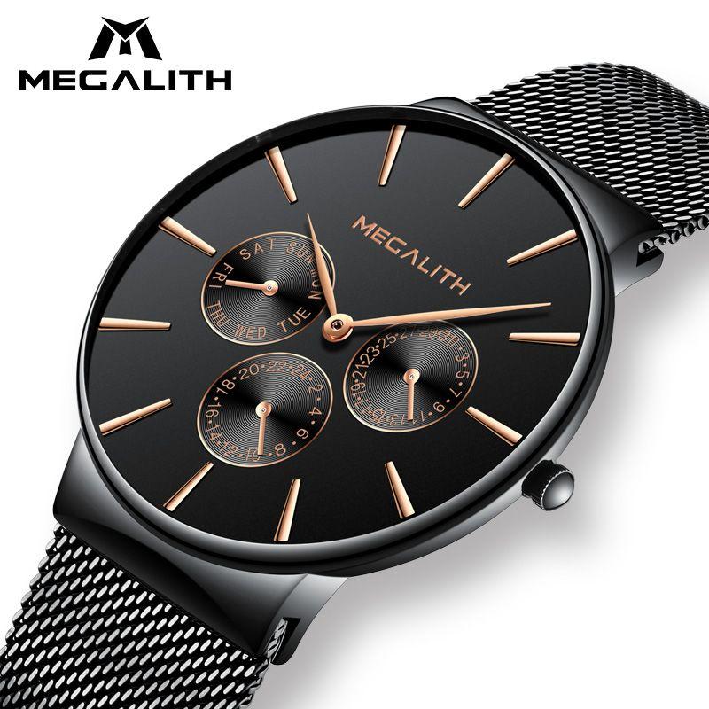 579351ce45ff Compre MEGALITH Reloj Hombres Correa De Acero Negro Pulsera De Malla Relojes  De Cuarzo Relojes De Caballero Fecha Calendario Impermeable Relojes  Deportivos ...